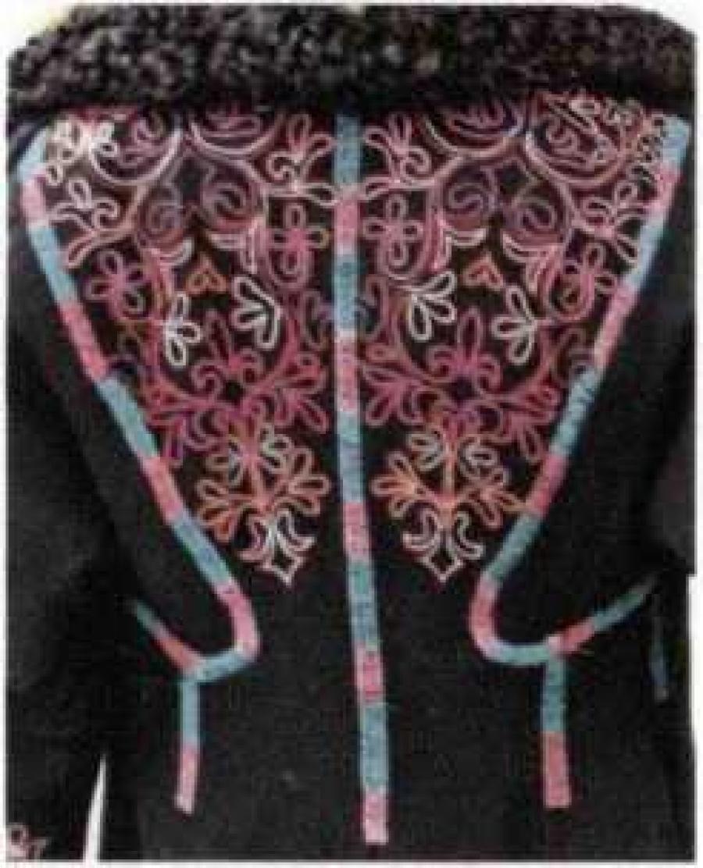 Вышивка на женских праздничных шубах койбалов  - М. П. Чебодаева