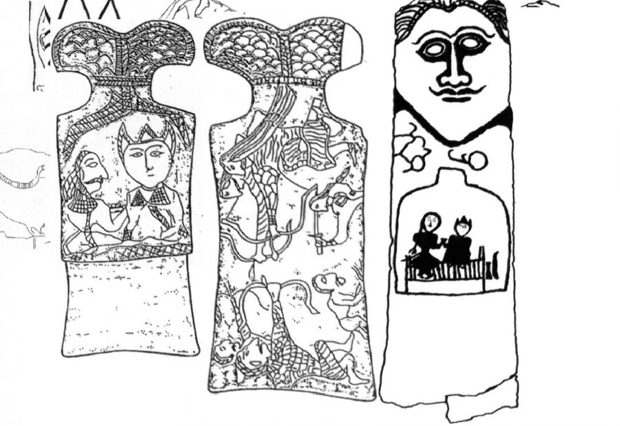 Двухфигурная композиция бог Тенгри и богиня Умай, сидящие на троне